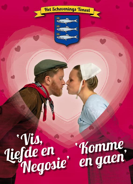 De Poster voor promotie van het toneelstuk EEN WAEGSTIK NAER DE VRIJ'ED.